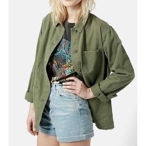 Topshop Saunders Distressed Army Shirt Jacket
